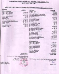 Receipts & Payment Account 2014